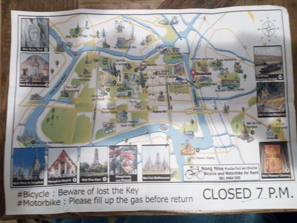 Cartina fornita dal noleggio bici