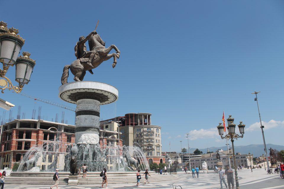 Piazza Macedonia skopje Itinerario Grecia Macedonia del nord